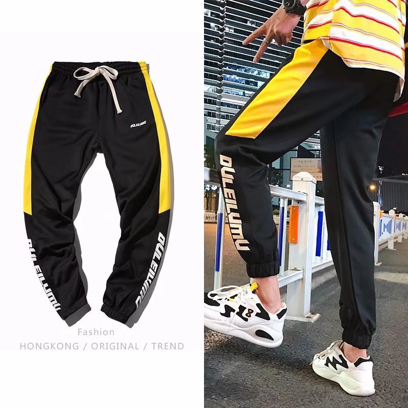 2019 Spring New Style Side Edge Printed Letter Casual Pants Teenager Beam Leg MEN'S Sports Pants