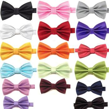 Men's Boys' Solid Color Grid Pre-Tied Wedding Formal Meeting Bow Tie Bowtie image