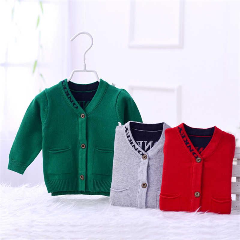 דוב חמוד תינוק סוודר קרדיגן כותנה סרוג סוודר ליילוד בני V-צוואר ארוך שרוול תינוק קרדיגן חיצוני סוודר האביב