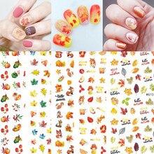 1Sheet Fall Gold Maple Leaves Nail Sticker Pumpkin Turkey Flower Autumn Design Slider Decals Water Transfer Manicure decoration