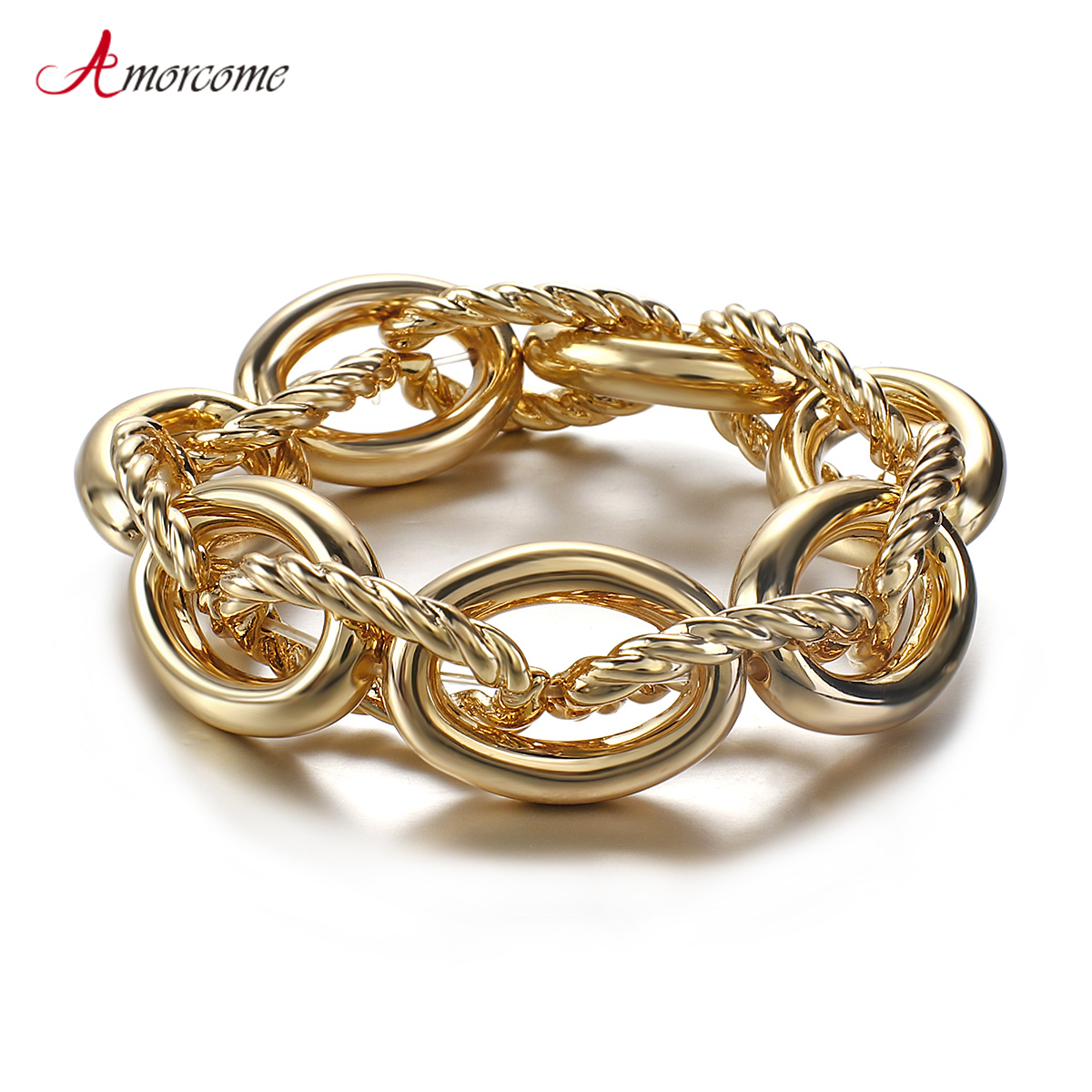 Amorcome Gold Color Chunky Chain Bracelet Simple Boho Heavy Party Night Club Bracelets for Women Statement Jewelry