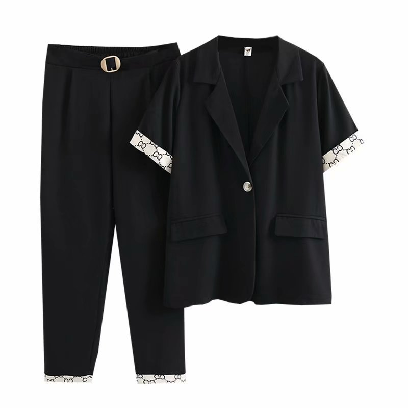 2 Piece Outfit for Women Summer New Short Sleeve Fashion Cardigan Jacket Solid Harem Pants 3xl 4xl Plus Size Women Clothing
