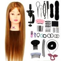 26'' Hairdressing Training Head Hair Braiding Dummy of Hairstyles Doll Wig Head Hair Tool Set Mannequin Head + Clamp Dummy Doll