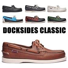 Zapatos de conducción de cuero genuino para hombres, nuevos zapatos de barco clásicos de moda Docksides, mocasines planos de diseño de marca para hombres y mujeres 2019A010