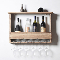 Wooden Wall Mounted Wine Glass Holder Wine Bottle Storage Rack Storage Stand Home Organizer Kitchen Shelf Light Color
