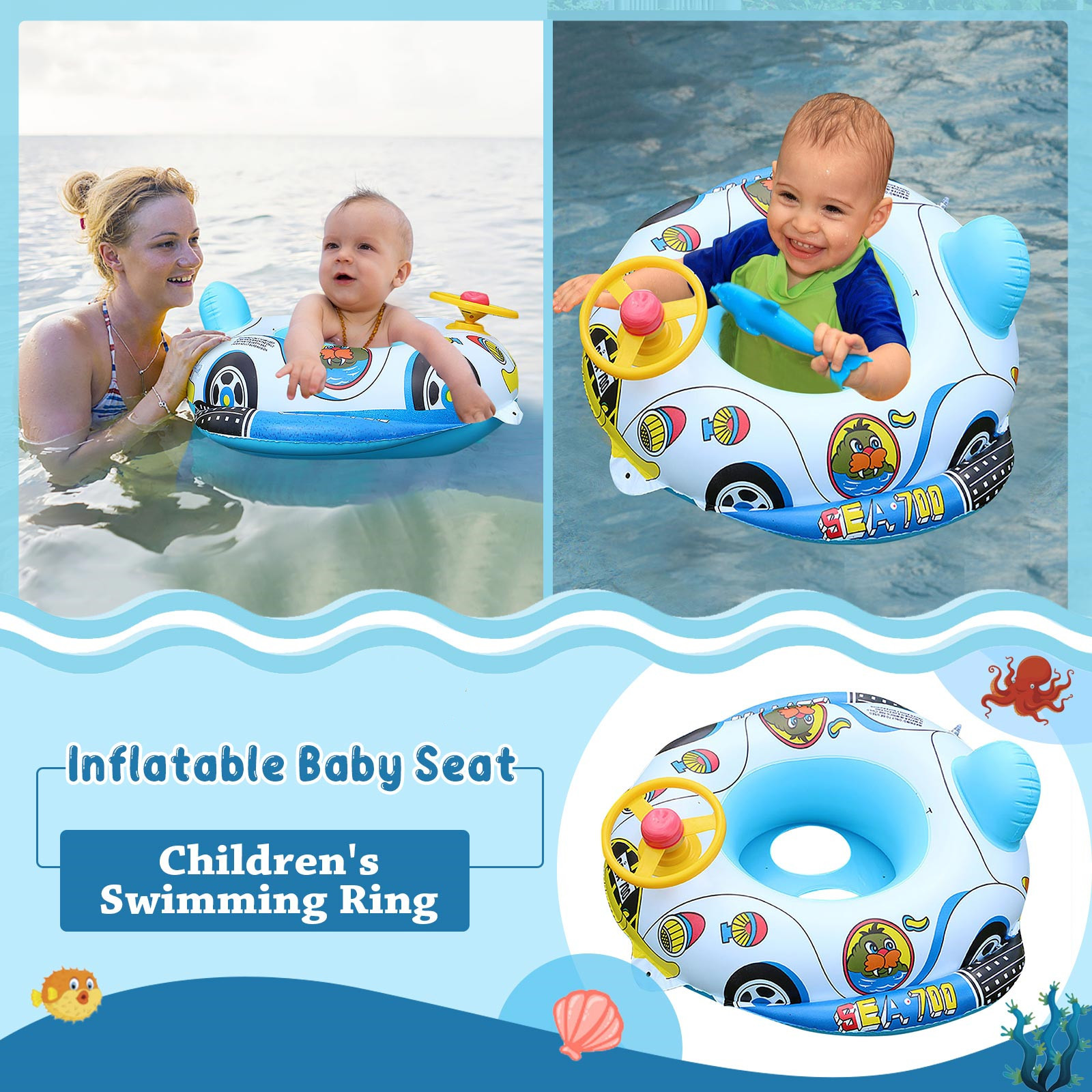 Airship Baby Swimming Ring for Kids PVC Inflatable Swimming Ring Summer Outdoor Swimming Pool Floats Kids Swimming Toys 60x63cm