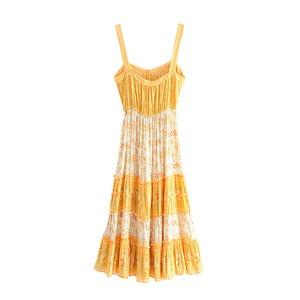 Image 3 - Vintage Chicผู้หญิงดอกไม้พิมพ์ชายหาดโบฮีเมียนStrapless Midiชุดสุภาพสตรีฤดูร้อนเรยอนBoho Vestidos