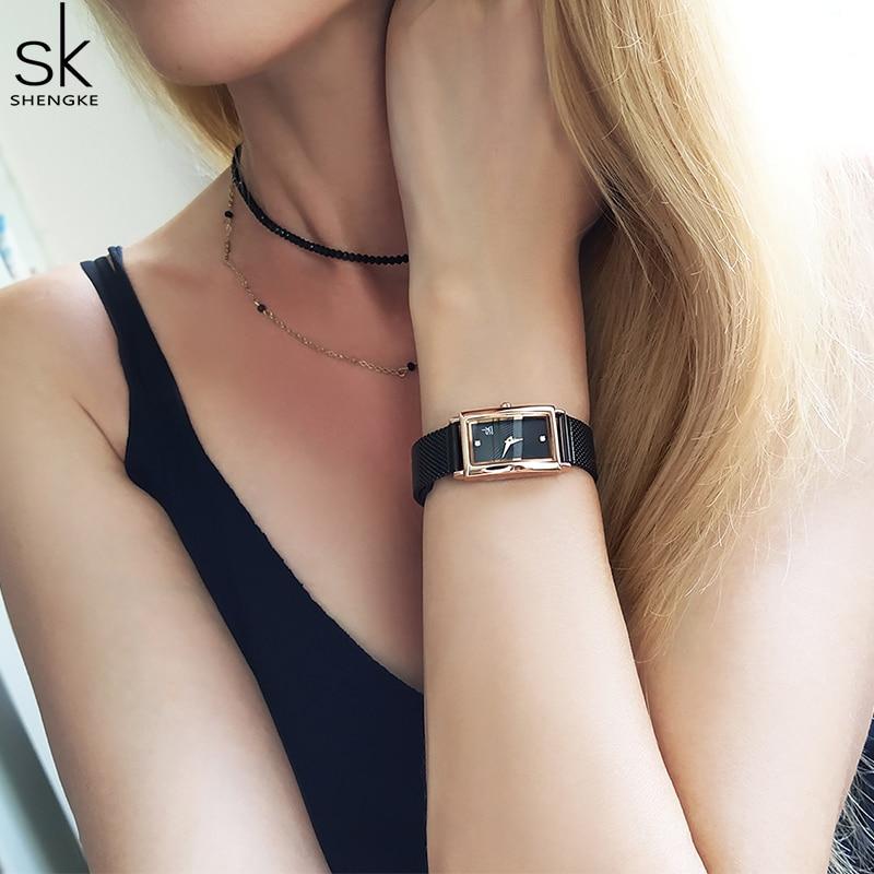 Shengke New Top Brand Luxury Women Watch Rectangle Dial Elegant Quartz Japanese Ladies Wristwatches Waterproof Gift