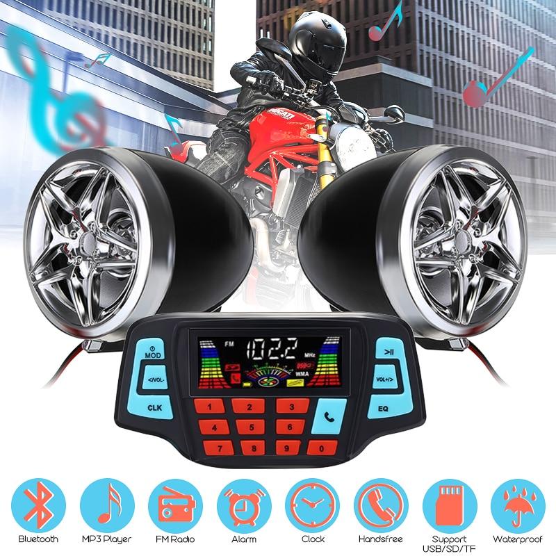 Motosiklet stüdyo ses ses sistemi Stereo hoparlörler FM radyo MP3 müzik çalar Scooter ATV uzaktan kumanda Alarm hoparlör Scooter