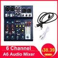 Leory mini 6 canais de som mixagem console gravação usb computador 48 v phantom dsp efeito usb áudio mixer a6 mixing console karaoke