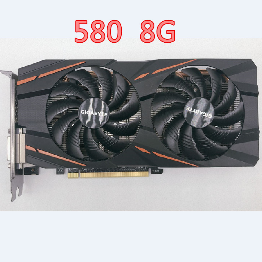 GIGABYTE RX 580 8GB Gaming Graphics Cards GPU RX580 8GB Video Card Computer Game For AMD Video Cards Map HDMI PCI-E Used 580 8G