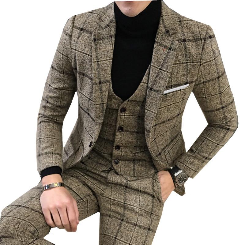2019 Suits Men British New Style Designs Royal Blue Mens Suit Sets Autumn Winter Thick Slim Fit Plaid Wedding Dress Tuxedos