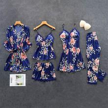 Женские пижамы шелковые цветочные общей печати 5 шт пижамный