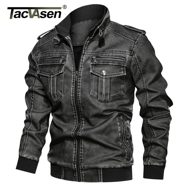 TACVASEN Winter Jacket Men Vintage Faux Leather Jacket Fleeced Warm Motorcycle PU Leather Jackets Military Army Tactical Coat