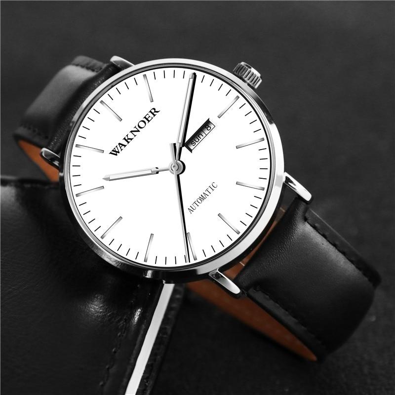 WAKNOER Luminous Top Brand Luxury Wristwatches Watch Men Mechanical Sport Men Watch Automatic Designer Watch Mens Leather D7