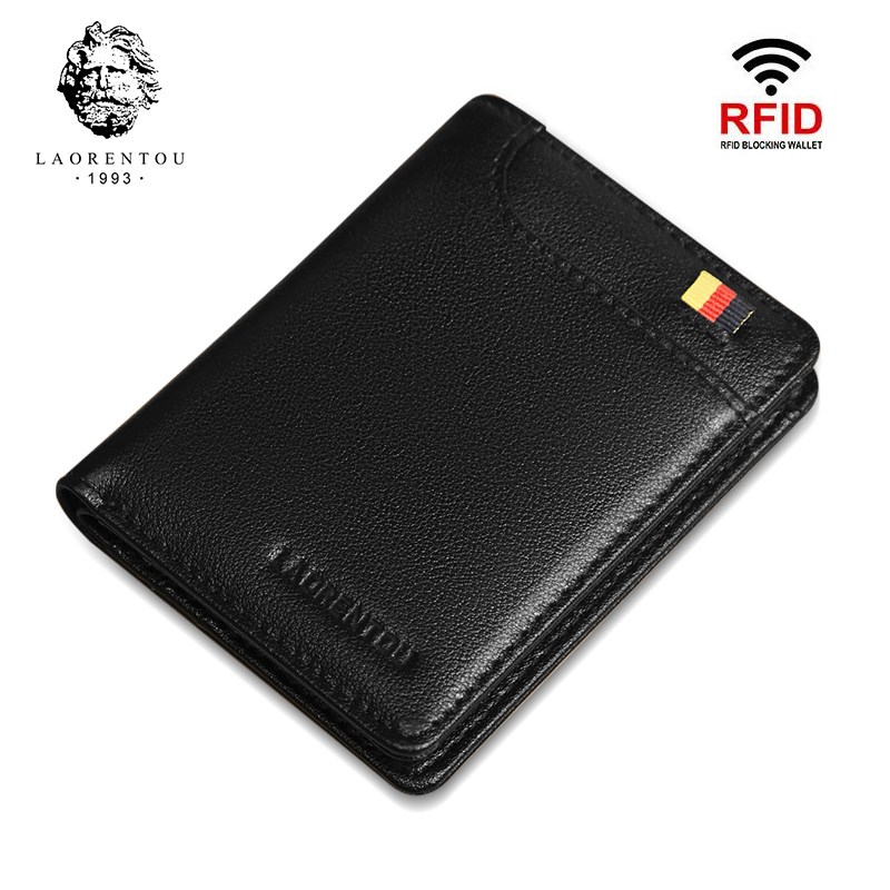 LAORENTOU Men Wallets Card Holder Genuine Leather Short Wallet For Man Mini Purse Zipper Wallet Casual Standard Wallets For Male