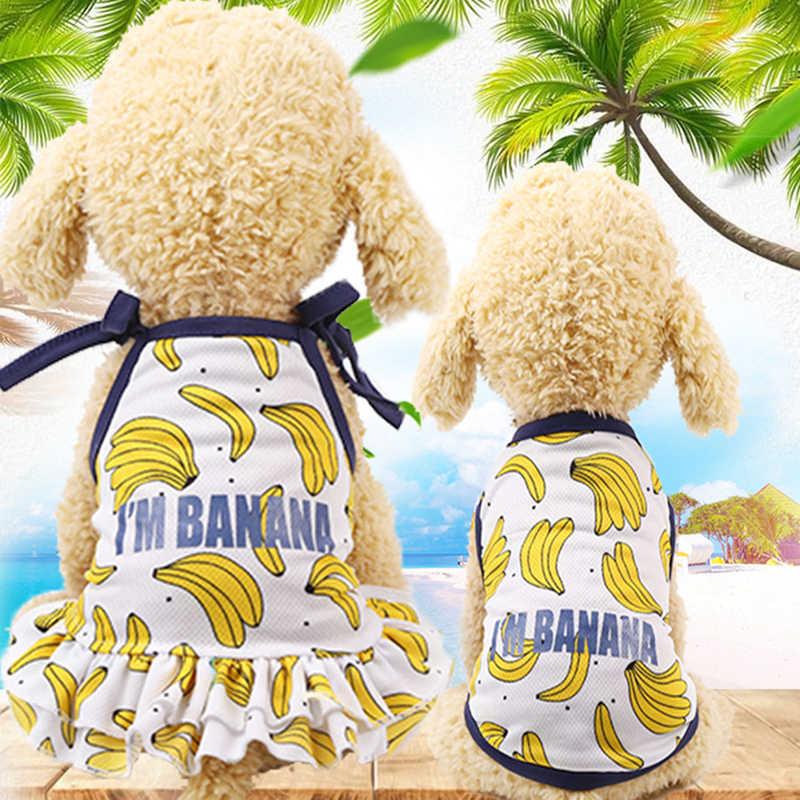 Mode coton vêtements pour animaux de compagnie mignon Fruit motif robe T-shirts amoureux costume petit moyen chat chien vêtements fournitures pour animaux de compagnie chien jupes
