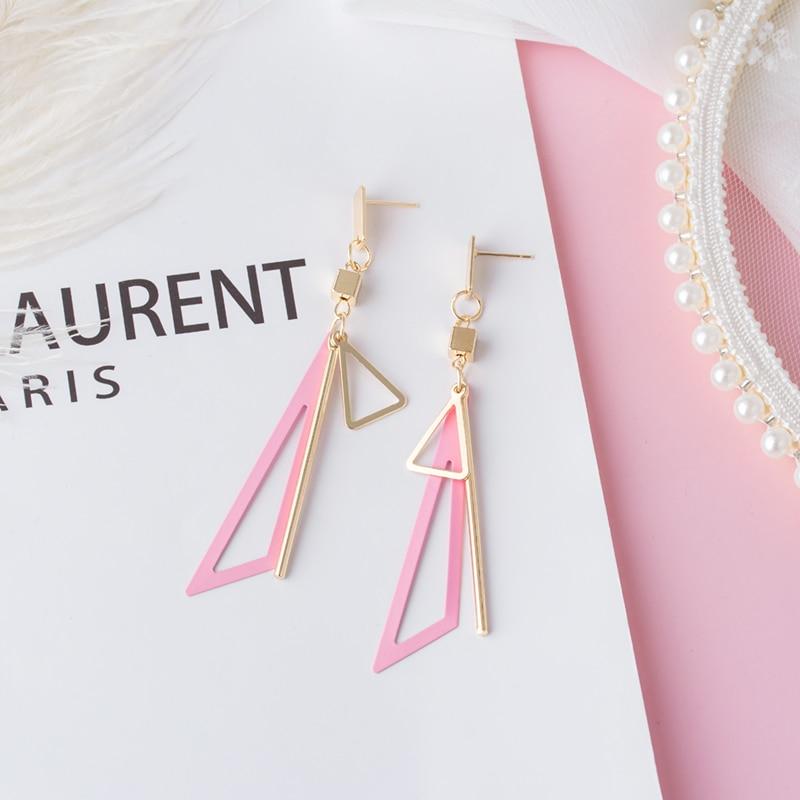 New Korean Statement Geometric Long Wooden Drop Earrings For Women Cute Pink Wedding Hanging Dangle Earring 2020 Fashion Jewelry