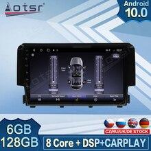 Autoradio Carplay Android, 6 go/128 go, DVD, vidéo, Navigation GPS, lecteur multimédia, stéréo, écran, pour voiture Honda Civic (2016 – 2018)