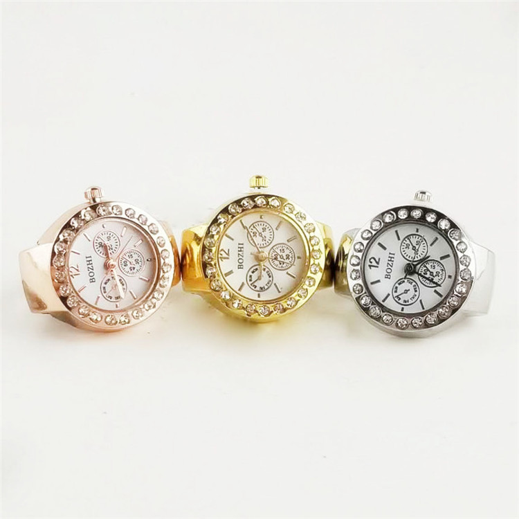 New Fashion Casual Ladies Mini  Ring Watch Rhinestone Ring Watch Retro Rose Gold Ring Watch Women Finger Decoration