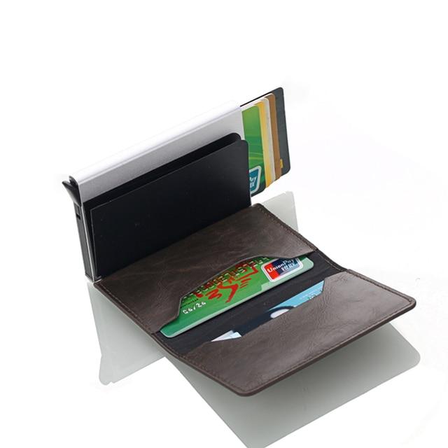 Rfid Blocking Credit Card Holder Men Wallets Slim Thin Business Leather Metal Cardholder Pocket Case Magic Smart Wallet 5