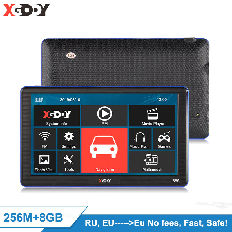 XGODY 886 7'' Truck Car GPS Navigation 256M+8GB Capacitive Screen Navigator Reaview Camera Optional FM 2020 EU Free Sat Nav Maps