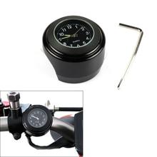 """Универсальные 7/"""" водонепроницаемые хромированные кварцевые часы с креплением на руль мотоцикла, алюминиевые светящиеся часы, мотоциклетные Черные Аксессуары"""