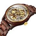 Классические модные деревянные Мужские автоматические механические часы с деревянным ремешком, прозрачные Спортивные мужские наручные ча...