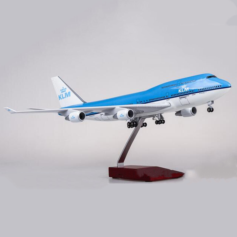 47CM 1:160 Scale Airplanes Boeing B747 KLM Royal Dutch Airlines Aircraft Model With Wheel Diecast Resin Plane Collectible Gift