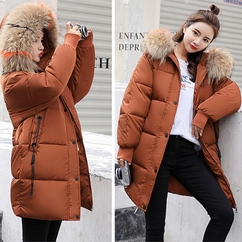 Зимнее пальто женские куртки 2019 длинные стеганые парки с меховым капюшоном хлопковые пальто зимняя женская парка плюс размер 3XL Casaco Feminino