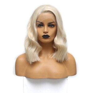 Image 2 - כריזמה קצר פאה עמיד בחום גלי שיער פאות סינטטי תחרה מול פאת צד חלק Glueless פאות עבור נשים משלוח חינם