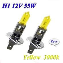 Alta qualidade 2 pçs amarelo h1 h3 h4 h7 h8 h11 9005 9006 novo bulbo halogênio 3000k 12v lâmpada de vidro do farol xenon carro quartzo 55w u2f8
