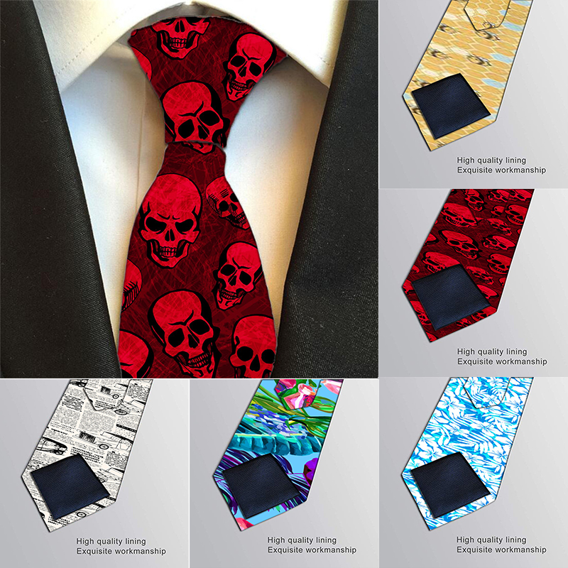 Fashion Classic 3D Printed Men Tie Creative Funny Skull Newspaper Party Wedding Ties Slim Polyester 8cm Wide Neckties For Men
