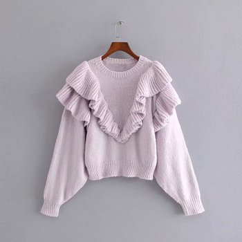 2019 winter sweet women's sweater puff sleeve O neck Short Knitted Sweaters jumpers casual chic female Pullovers