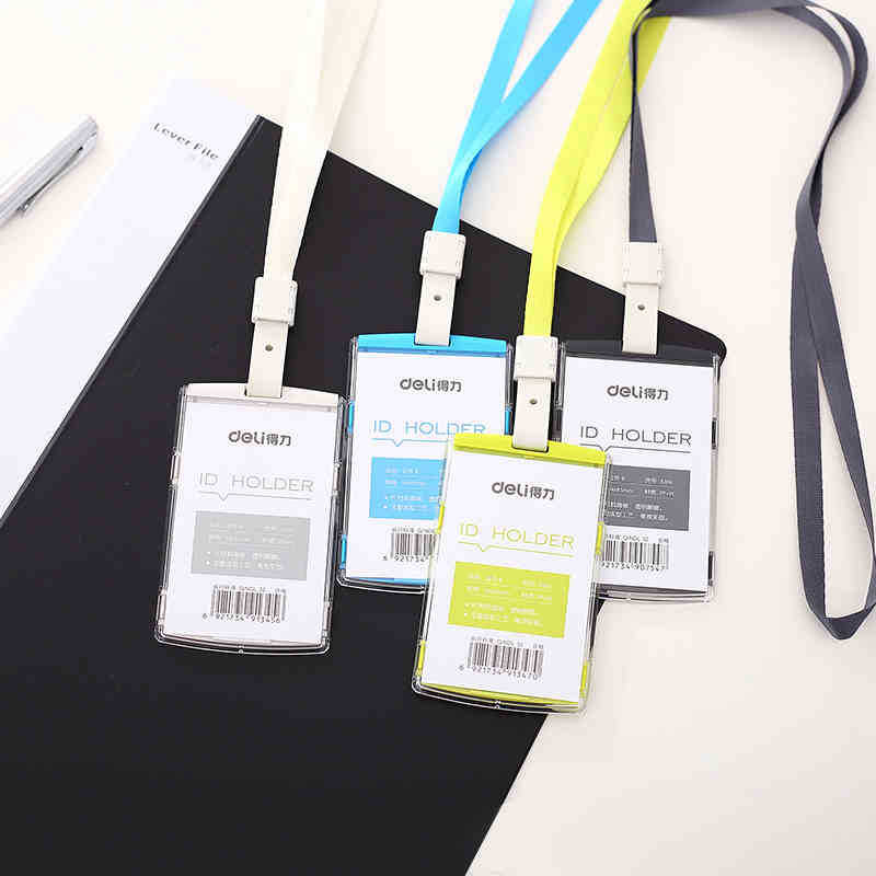 Deli 8306 ID Card With Lanyard Work Card Customizable Employee Badge Students Bus Access Control Badge Label
