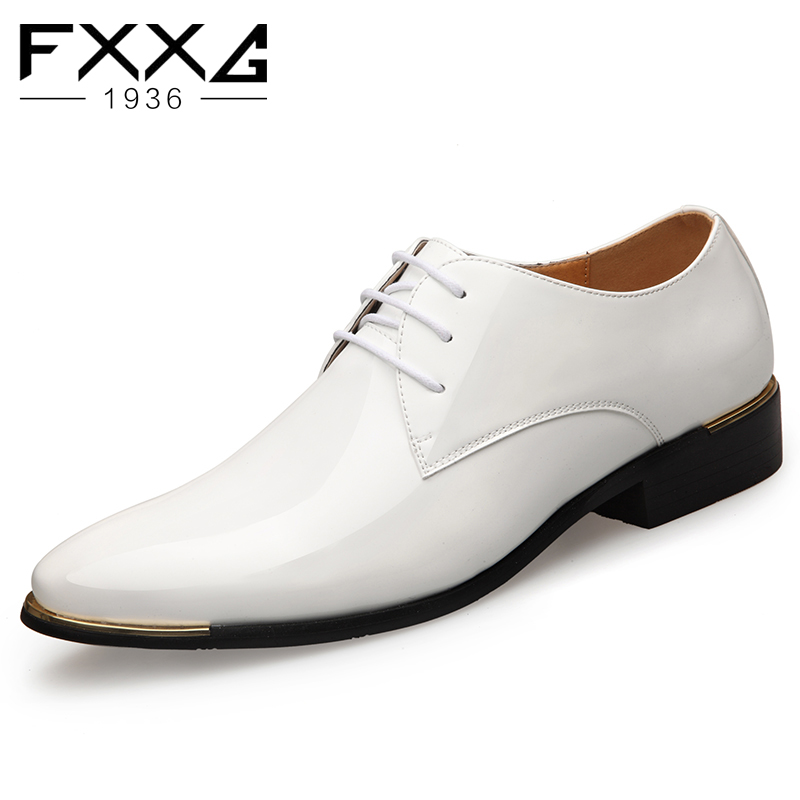 Autumn Men's Business Casual Shoes Shiny Leather Dress Shoes Men Fashion Lacing Pointed Shoes Wedding Shoes White Shoes 1875