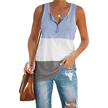 2021 Summer Vintage Tank tops Puls Size Women Casual Loose v-Neck Sleeveless Buttons Vest Patchwork Streetwear Oversized Tops