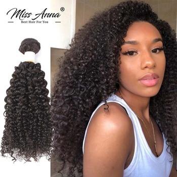 Missanna 30 Inch Long Brazilian Human Hair Bundles Kinky Curly Bundles Hair Weave Natural Color Remy 100% Human Hair Extension