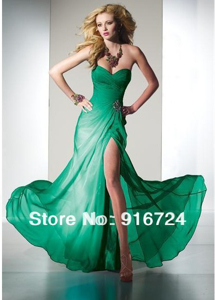 New Long Strapless Chiffon Evening Dress Party Dress With Crystals Custom Made Red Green All Colors