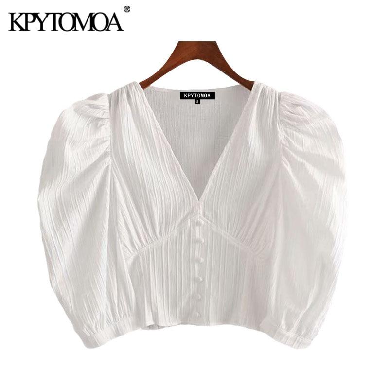 KPYTOMOA Women 2020 Sweet Fashion Buttons White Cropped Blouse Vintage V Neck Puff Sleeve Female Shirts Blusas Chic Tops