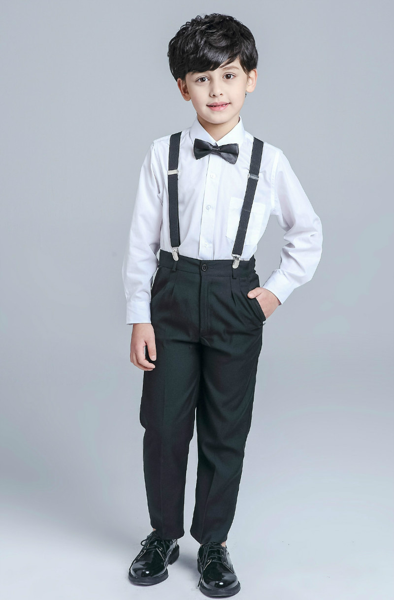 Unisex Middle And Large Children Performance Child Baby Kids Children Pants Suspenders BOY'S Black And White With Pattern Elasti