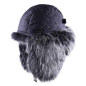 Image 4 - VINTAGE BOMBER หมวก Faux Fox ขนสัตว์นักบิน Aviator Trooper หนัง Earflap รัสเซีย Ushanka Men ฤดูหนาว WARM Plush Snow สกีหมวก