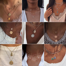 Star Moon Crystal Multilayer Pendant Necklace for Women 2019 Boho Flower Choker Necklaces Vintage Fashion Collar Party Jewelry