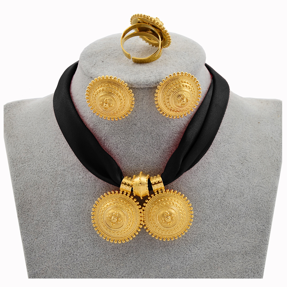 Anniyo DIY Rope Chain Ethiopian Jewelry Set Gold Color Eritrea Ethnic Style Habesha Pendant Earrings Ring #217106