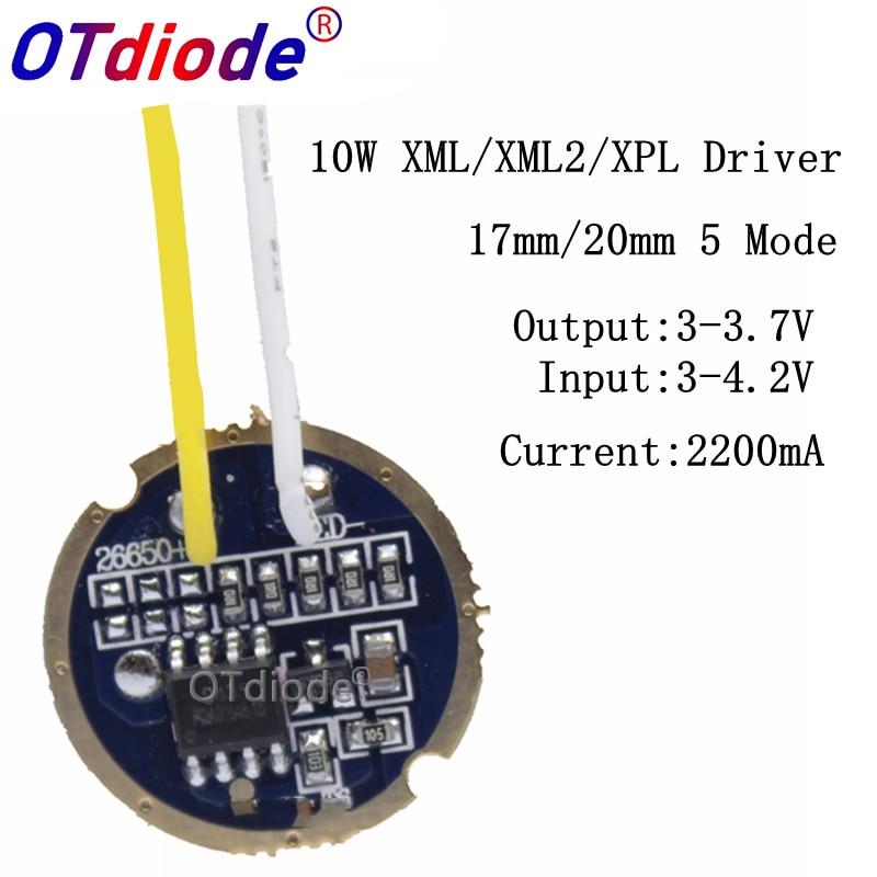 1PCS 10PCS Cree Xml Led XPL Xml2 Led T6 U2 Driver 17mm 20mm 3-4.2V 2.2A 5-Mode LED Driver For CREE XM-L LED Emitter