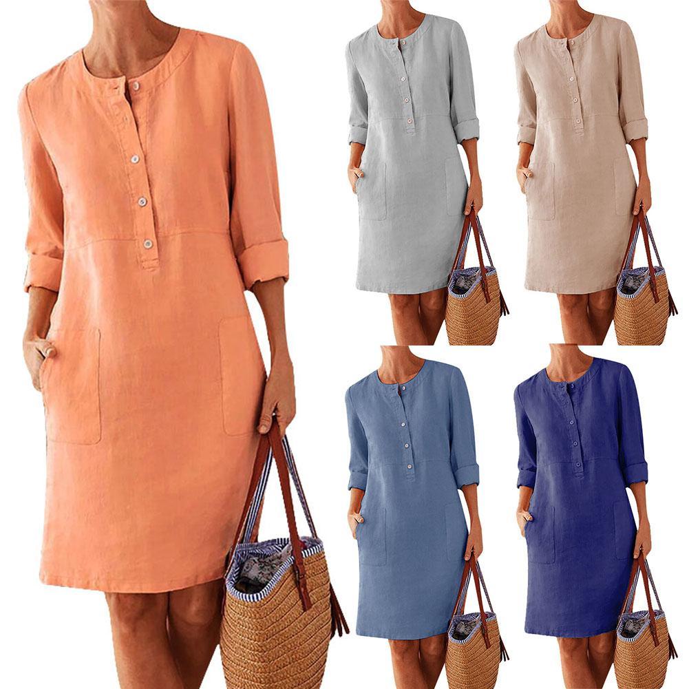 Plus Size Casual Solid Color Cotton Linen Women Long Sleeve Tunic Kaftan Dress Length Vestidos Summer Dresses  Causal  Clothing
