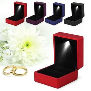 Креативная коробка для отображения колец, ожерелье, подвесная коробка со светодиодными лампами, Модная креативная простая однотонная мила...