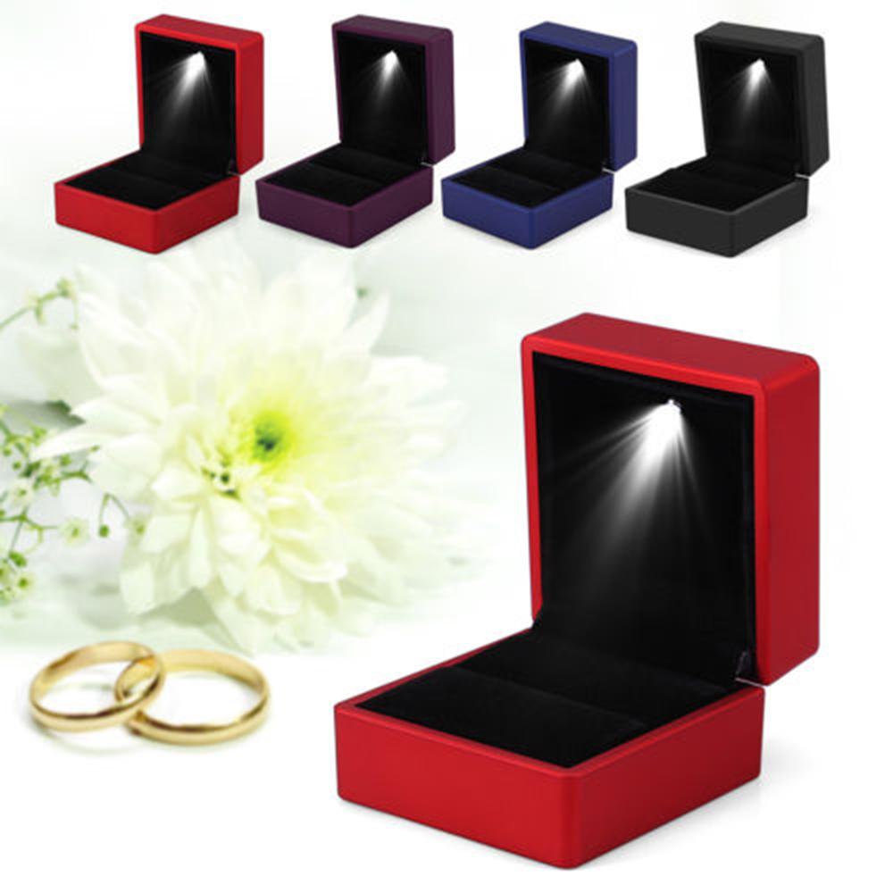 New Creative Ring Display Box Necklace Pendant Hold Box With LED Lights Fashion Creative Simple Solid Color Cute Small Portable