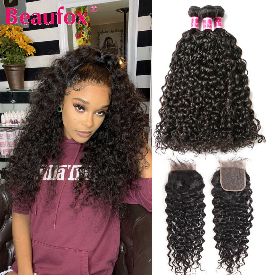 Beaufox Water Wave Bundles With Closure Malaysian Hair Bundles With Closure Remy Human Hair 3 Bundles With Closure
