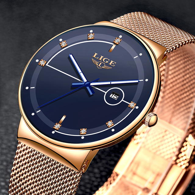 LIGE Fashion Mens Watches Top Brand Luxury Ultra Thin Quartz Watch For Men Mesh Strap Waterproof Gold Watch Relogio Masculino